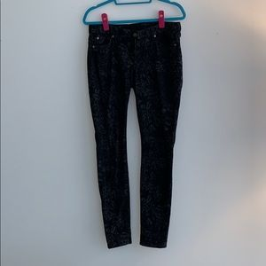 7 for all Mankind black/gray floral printed jeans